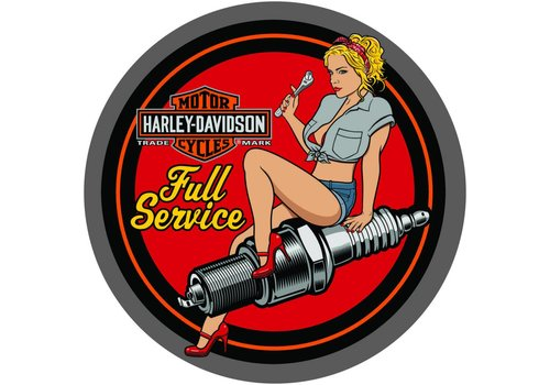 Ande Rooney Harley Davidson® Spark Plug Babe Round Tin Sign