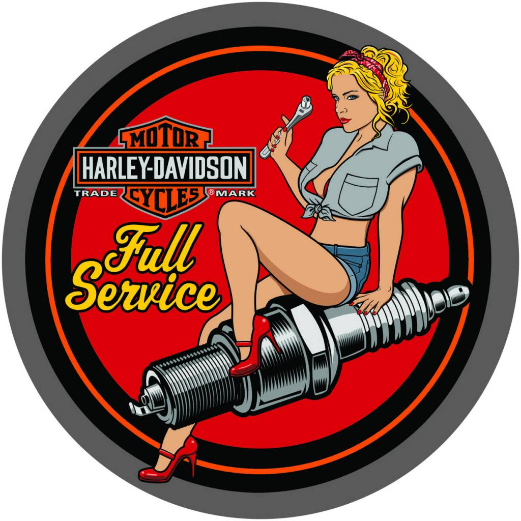 Harley Davidson® Spark Plug Babe Round Tin Sign