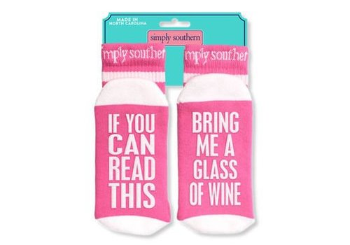 Simply Southern Simply Southern Bring Glass of Wine Socks