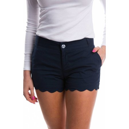 Scalloped Hem Poplin Short