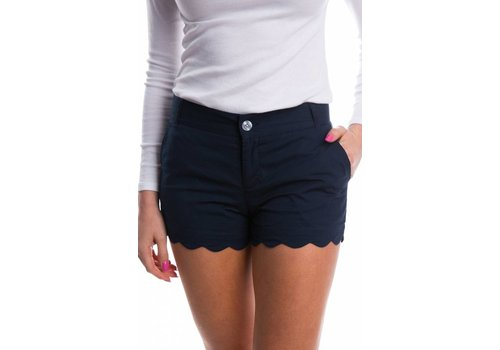 Lauren James Scalloped Hem Poplin Short