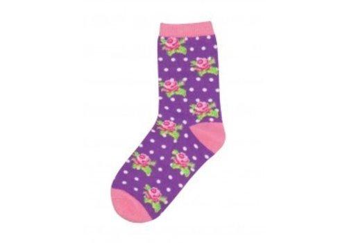 SockSmith Rosebuddies Lavendar Youth Socks