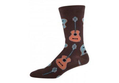 SockSmith Men's Guitars Brown Crew Sock