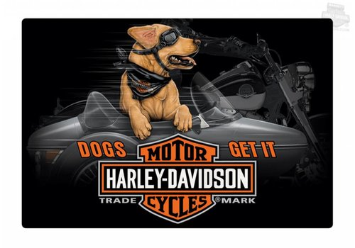 Ande Rooney Harley Davidson® Dog in Side Car Tin Sign