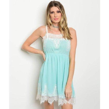 Mint & White Lace Sleeveless Dress