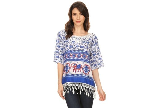 Elephant Tapestry Printed Top