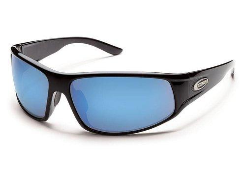Suncloud Optics Suncloud Warrant Sunglasses: Black/Polarized Blue Mirror Polycarbonate Lens