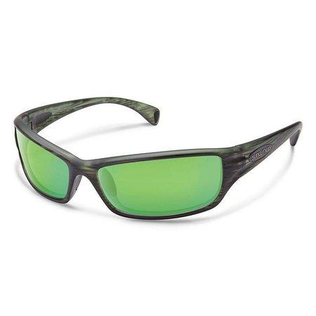 Hook Sunglasses: Matte Green Stripe/Polarized Green Mirror Polycarbonate Lens