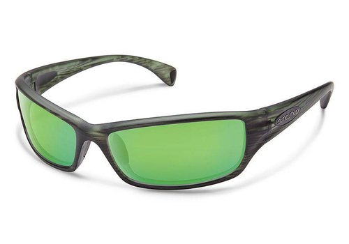 Suncloud Optics Suncloud Hook Sunglasses: Matte Green Stripe/Polarized Green Mirror Polycarbonate Lens