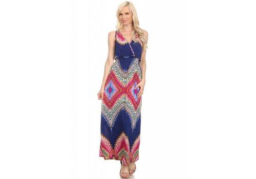 Multi Color Print Sleeveless V-Neck Maxi Dress