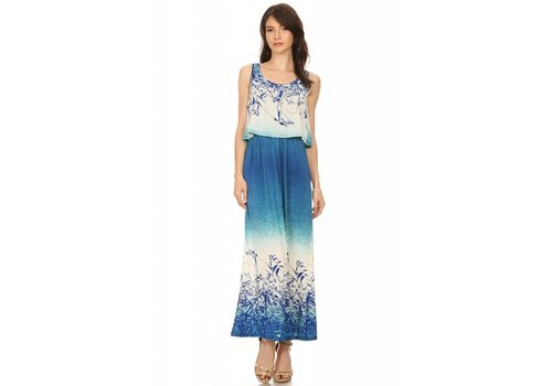 Sleeveless Relaxed Fit A-Line Blue Multi Dress