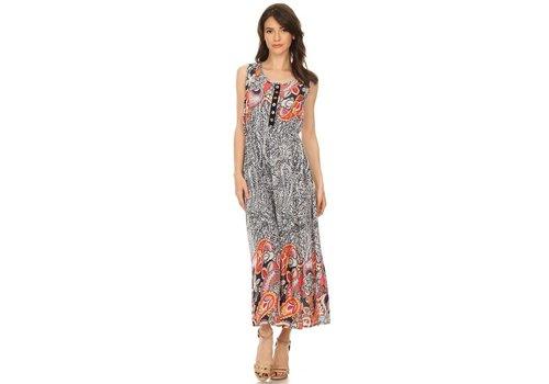 Scoop Neckline A-Line Paisley Print Dress