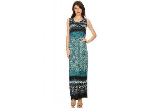Round Neckline A-Line Green Tribal Print Dress