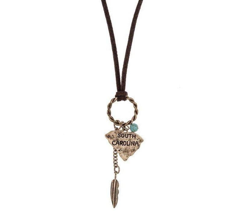 SC Ring Link Dangle Drop Pendant Necklace Set