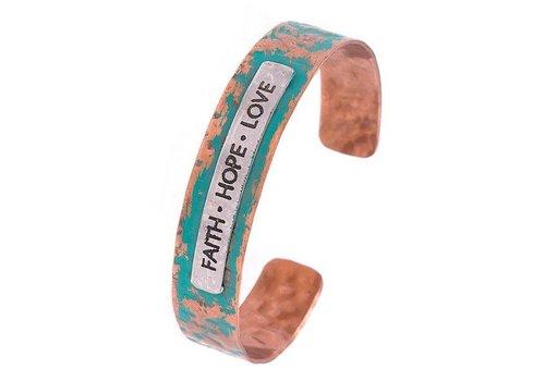 Andrea Bijoux FAITH HOPE LOVE Cuff Bracelet Copper Patinia