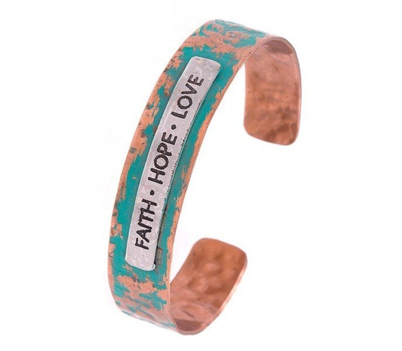 FAITH HOPE LOVE Cuff Bracelet Copper Patinia