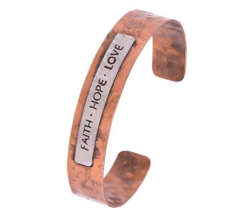 FAITH HOPE LOVE Cuff Bracelet Copper