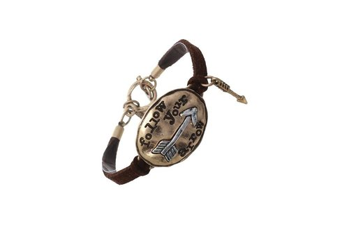Crystal Avenue Oval Follow Your Arrow Leather Bracelet Black / Rose Gold