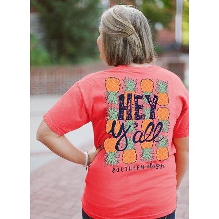 Coral Hey Y'all Pineapple T Shirt