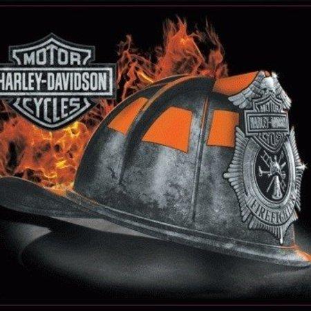 Harley Davidson Fire Helmet Sign