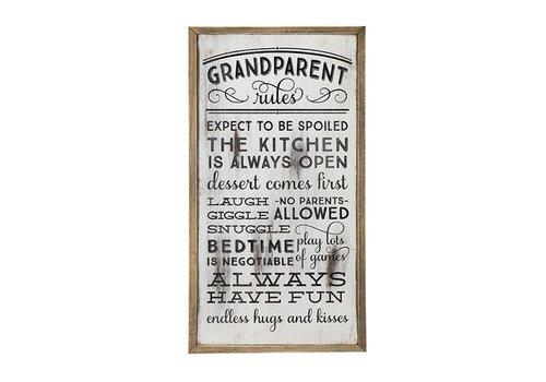 Wooden Wall Art-Grandparent Rules