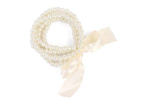 5 Line Pearl Bracelet with Ribbon Cream
