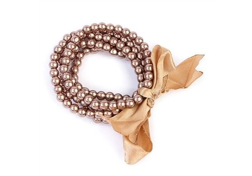 5 Line Pearl Bracelet with Ribbon Brown
