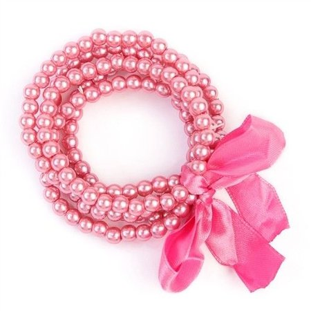 5 Line Pearl Bracelet with Ribbon Pink