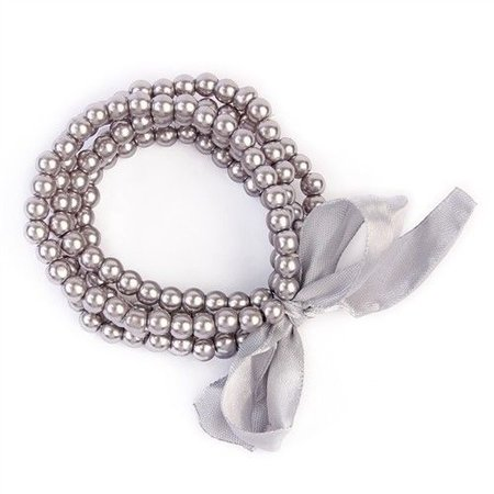 5 Line Pearl Bracelet with Ribbon Gray