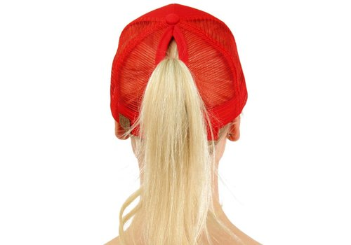 Girlie Girl C.C Ponycaps Ponytail Cap Red