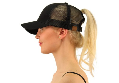 Girlie Girl C.C Ponycaps Ponytail Cap Black