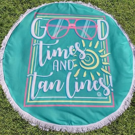 Girlie Girl Round Beach Towel Good Times