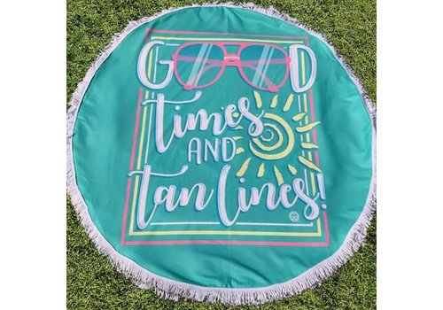 Girlie Girl Girlie Girl Round Beach Towel Good Times