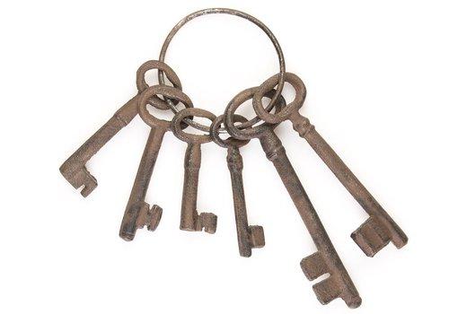Large Antique Replica Set of 6 Jailers Keys