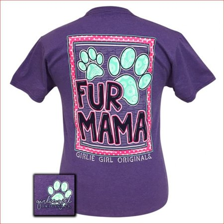 Girlie Girl Fur Mama Retro Heather Purple T-Shirt