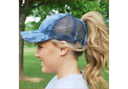 Girlie Girl C.C Ponycaps Ponytail Cap Navy Tie Dye