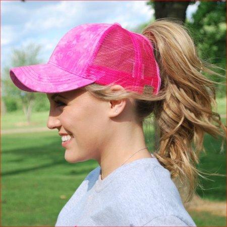 Ponycaps Ponytail Cap Hot Pink Tie Dye
