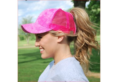 Girlie Girl C.C Ponycaps Ponytail Cap Hot Pink Tie Dye