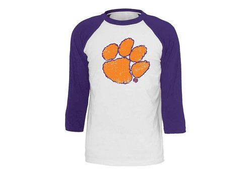 Clemson Orange Paw Raglan White