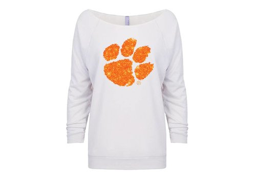 Clemson Paw French Terry Crew White