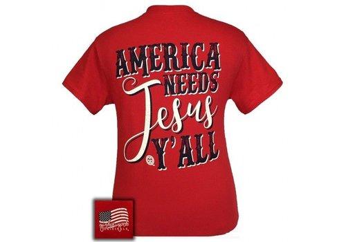 Girlie Girl Girlie Girl America Needs Jesus Red
