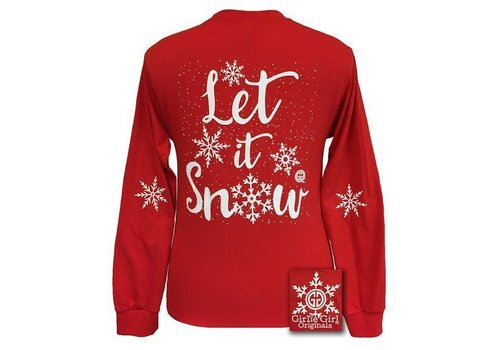 Girlie Girl Girlie Girl Let it Snow Long Sleeve Red YOUTH