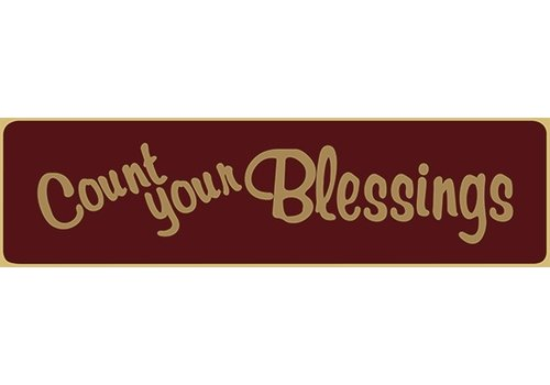 Poor Boy Woodworks Count Your Blessings 5.5' Red Sign