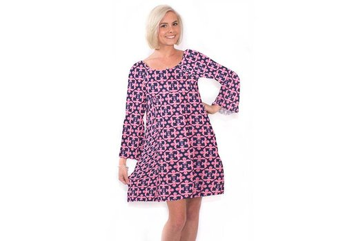 Simply Southern Simply Southern Bell Sleeve Sweet Damask Dress
