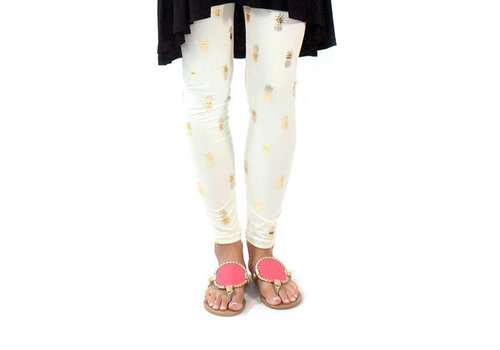 Simply Southern Simply Southern Leggings Gold Pineapple PLUS