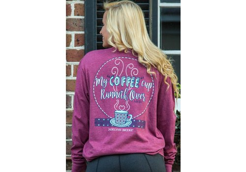 Jadelynn Brooke Jadelynn Brooke My Coffee Cup Runneth Over V-Neck Heather Wine