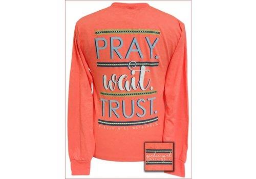 Girlie Girl Girlie Girl Pray Wait Trust Retro Heather Coral