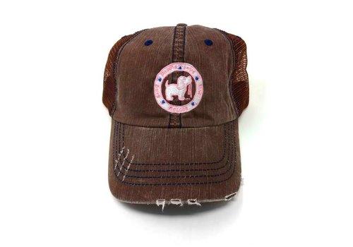 Puppie Love Puppie Love Logo Distressed Brown Trucker Hat