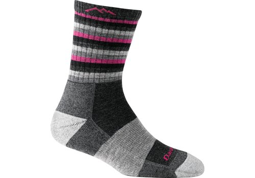 Darn Tough Darn Tough Merino Wool Micro Crew Stripes Cushion Black Hot Pink Stripe