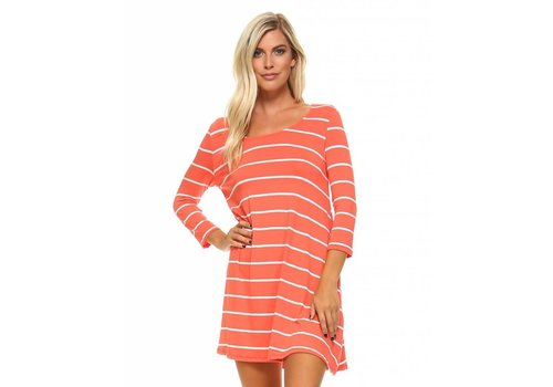 Corner Clothing 3/4 Sleeve Striped Tunic